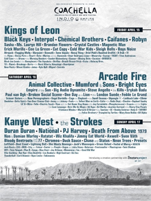 Coachella, live, Kings of Leon, Interpol, The Drums, Kanye West, The Strokes, PJ Harvey